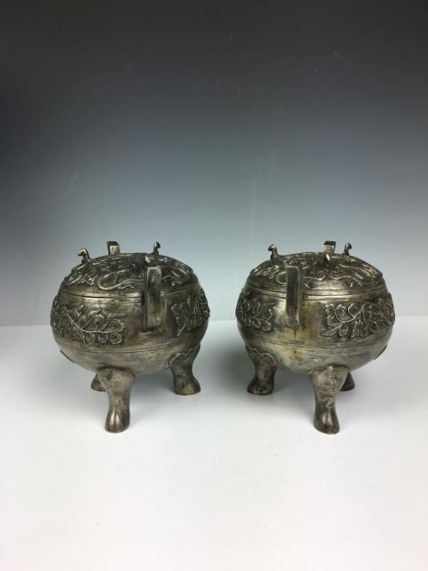 Pair of Chinese Silver Tripod Vessels with Mark - 4