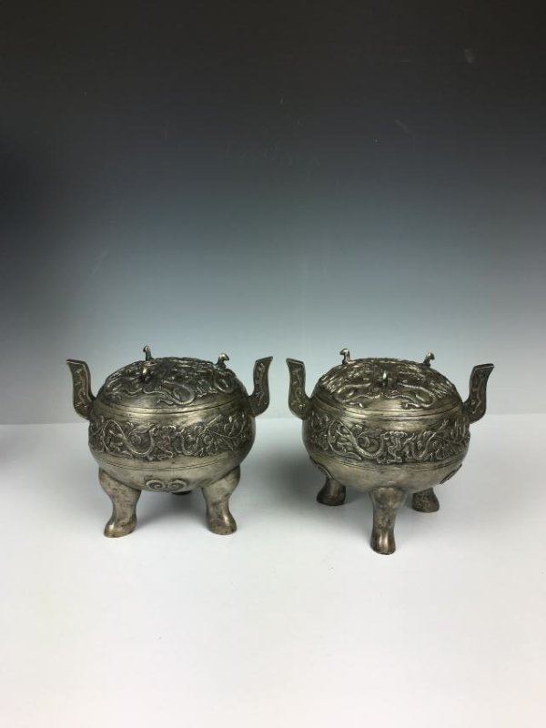 Pair of Chinese Silver Tripod Vessels with Mark - 5