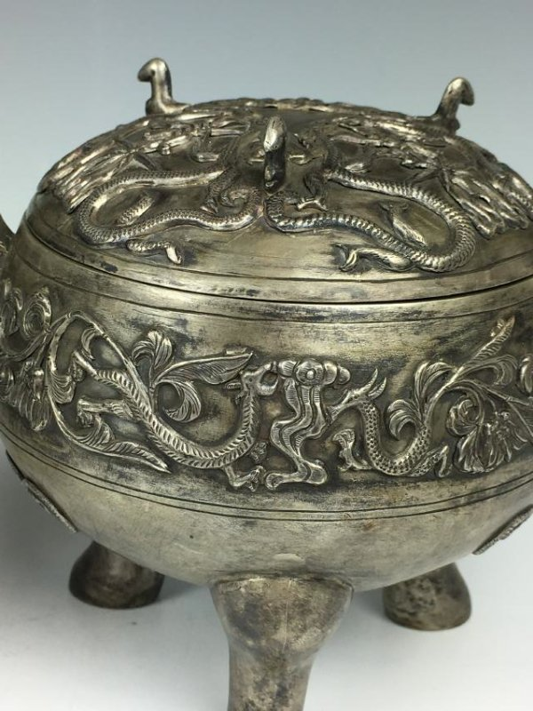 Pair of Chinese Silver Tripod Vessels with Mark - 6