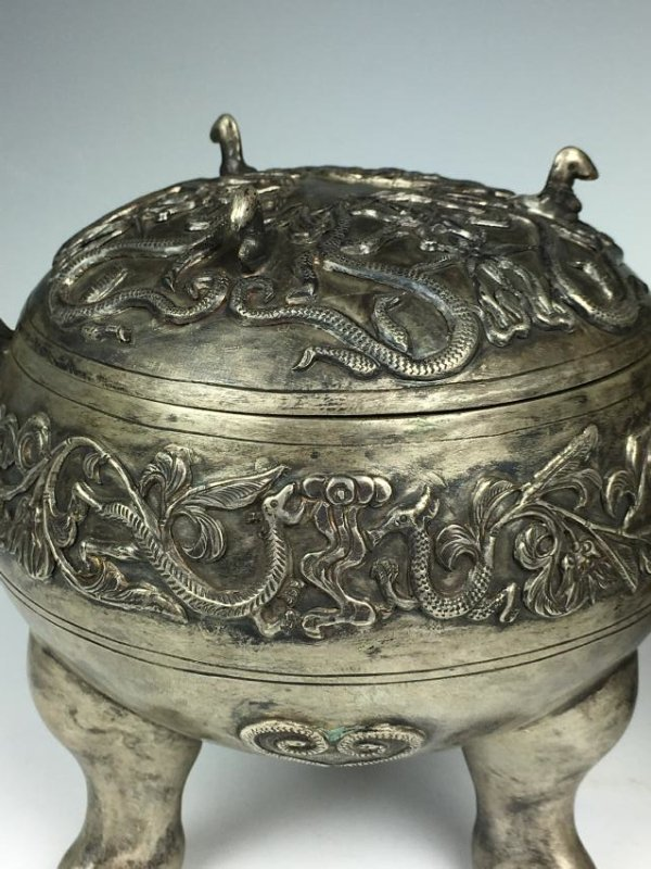 Pair of Chinese Silver Tripod Vessels with Mark - 7