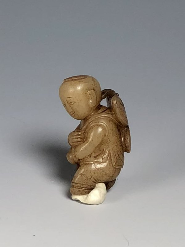 Carved White Jade Figure of Boy - 3