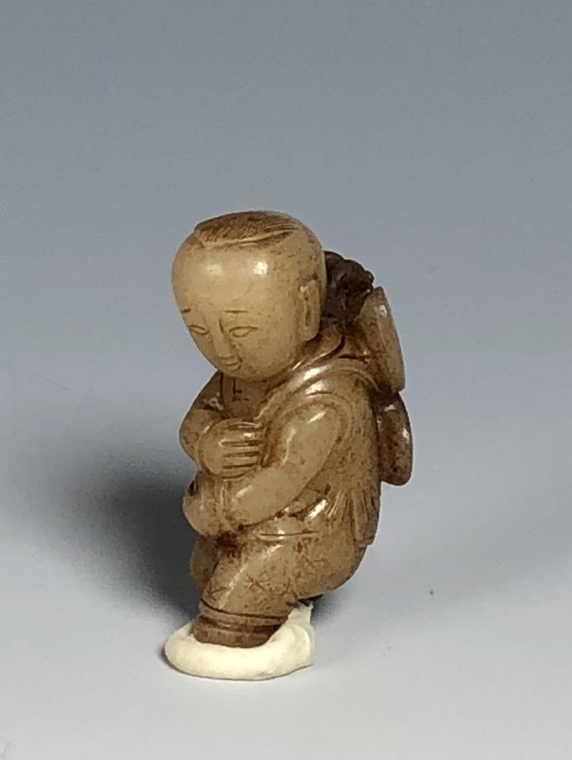 Carved White Jade Figure of Boy - 6