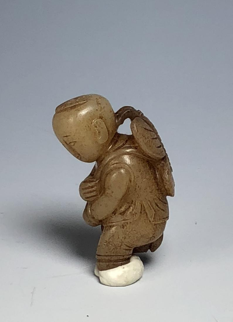 Carved White Jade Figure of Boy - 7