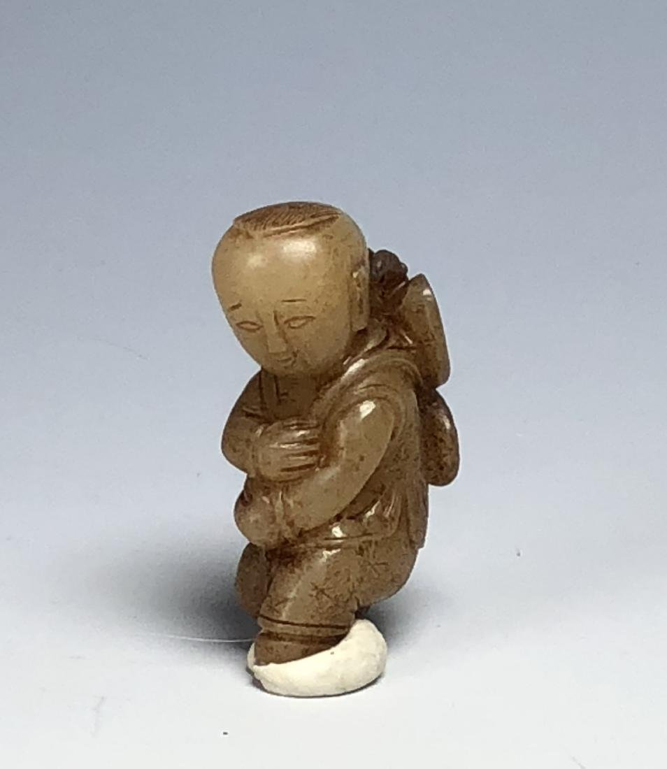 Carved White Jade Figure of Boy - 8