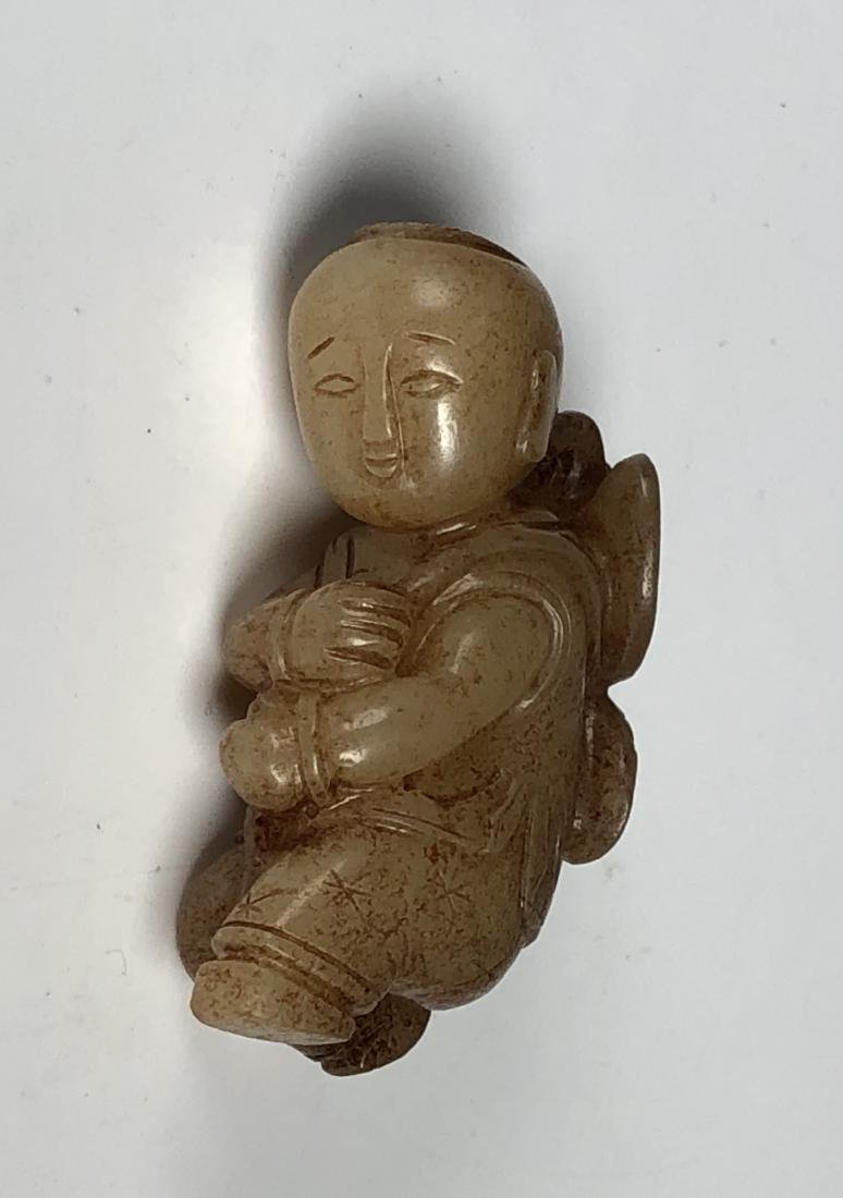 Carved White Jade Figure of Boy - 9