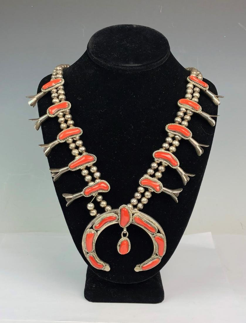 Silver and Coral Necklace