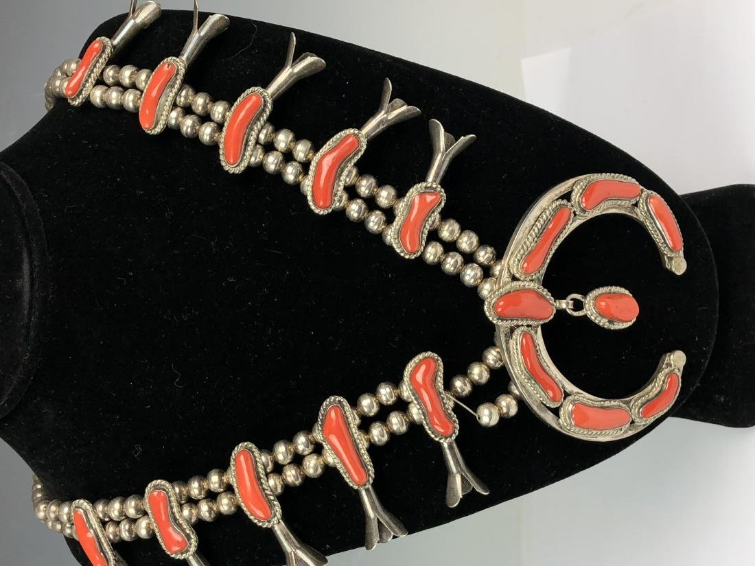Silver and Coral Necklace - 6