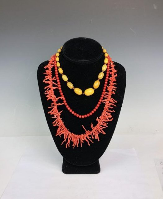 Coral and Amber Necklace