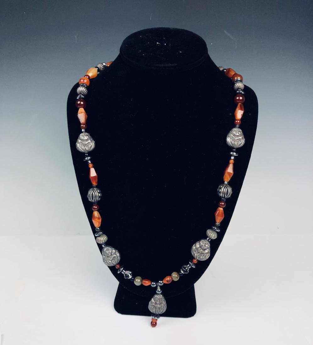 Agate and Sterling Silver Necklace