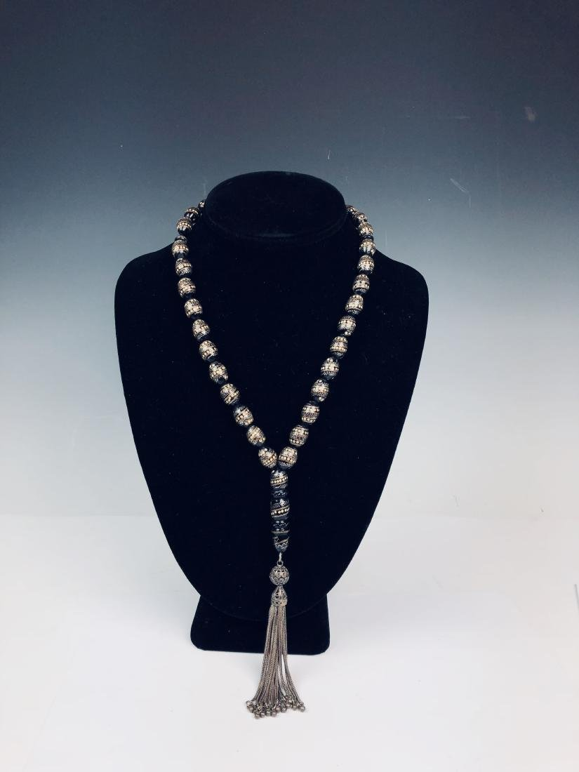 Silver on Black Coral Necklace