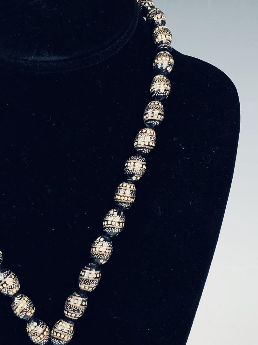 Silver on Black Coral Necklace - 2