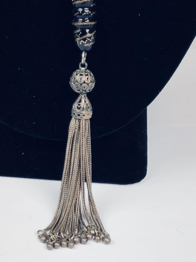Silver on Black Coral Necklace - 4