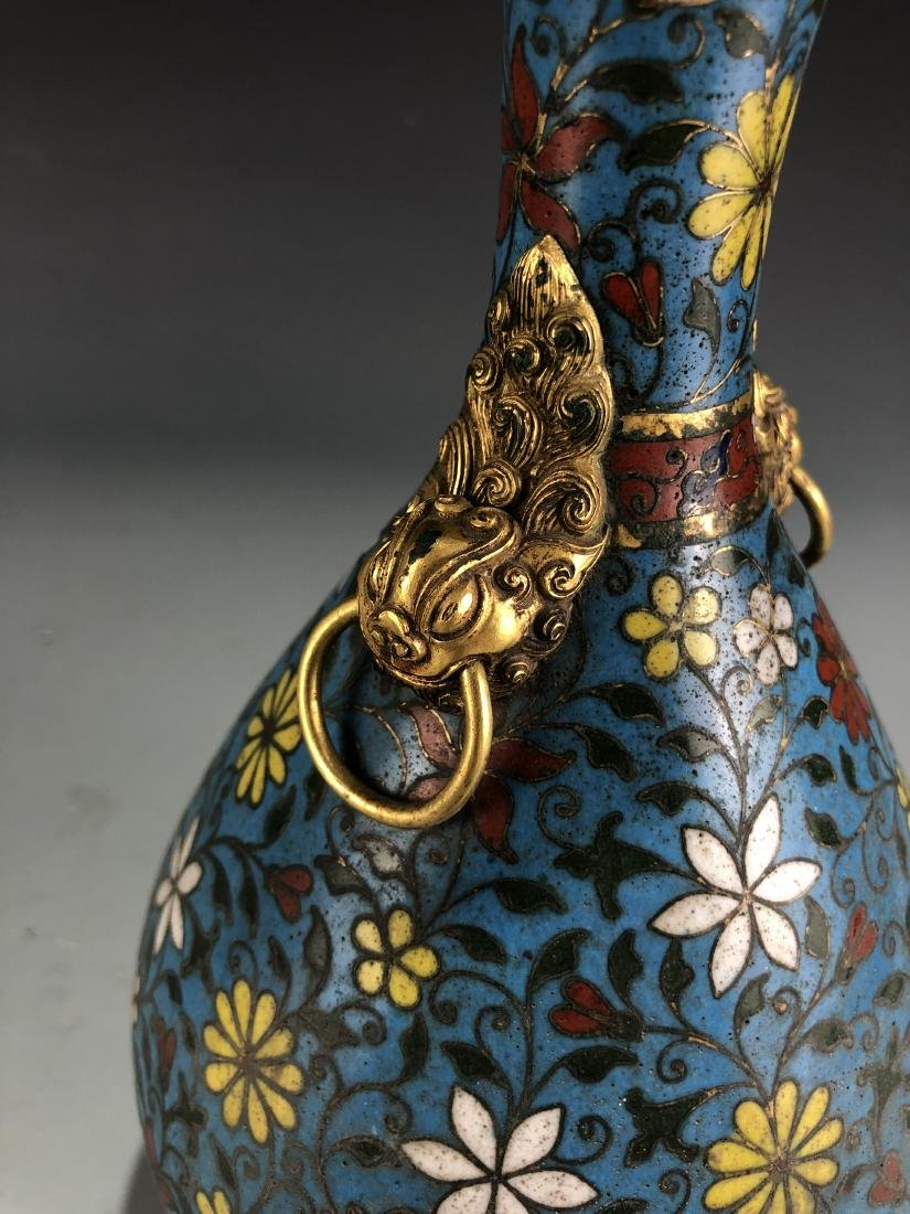 Cloisonne Enamelled Pear Vase with Mark - 2