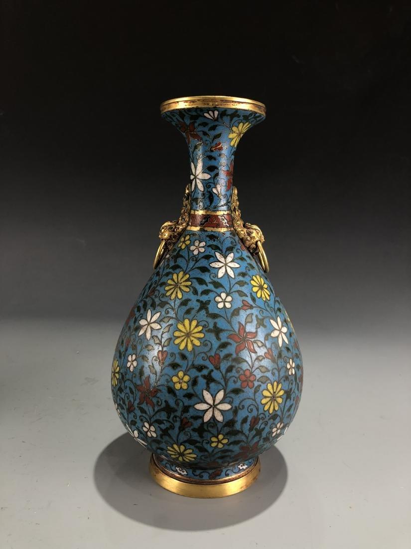 Cloisonne Enamelled Pear Vase with Mark - 4