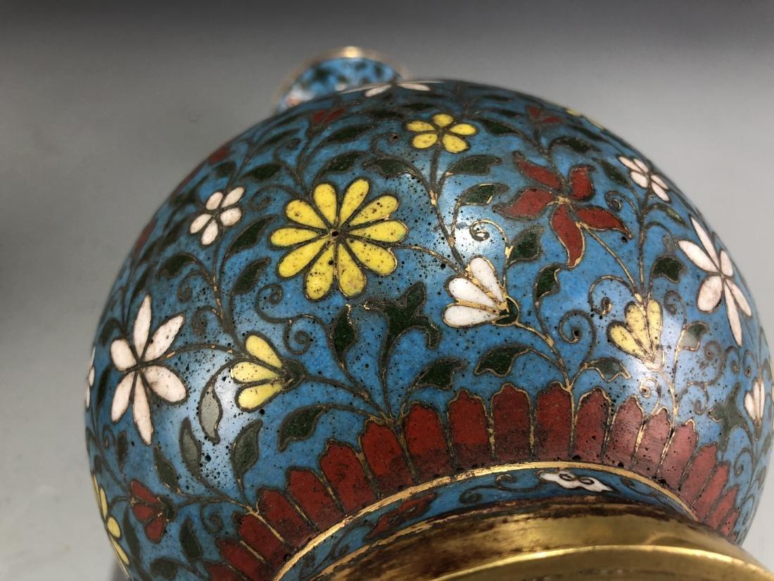 Cloisonne Enamelled Pear Vase with Mark - 5