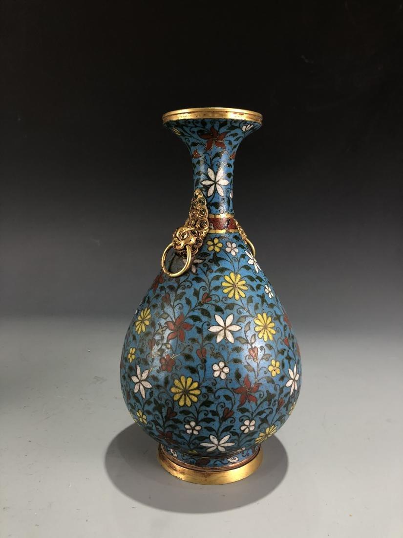 Cloisonne Enamelled Pear Vase with Mark - 6
