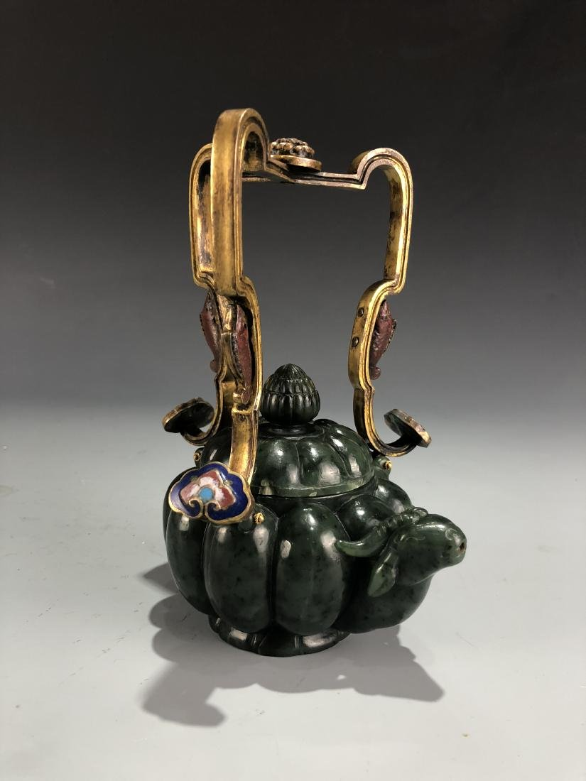 Green Jade Ox Vessel with Cover and Handle - 4