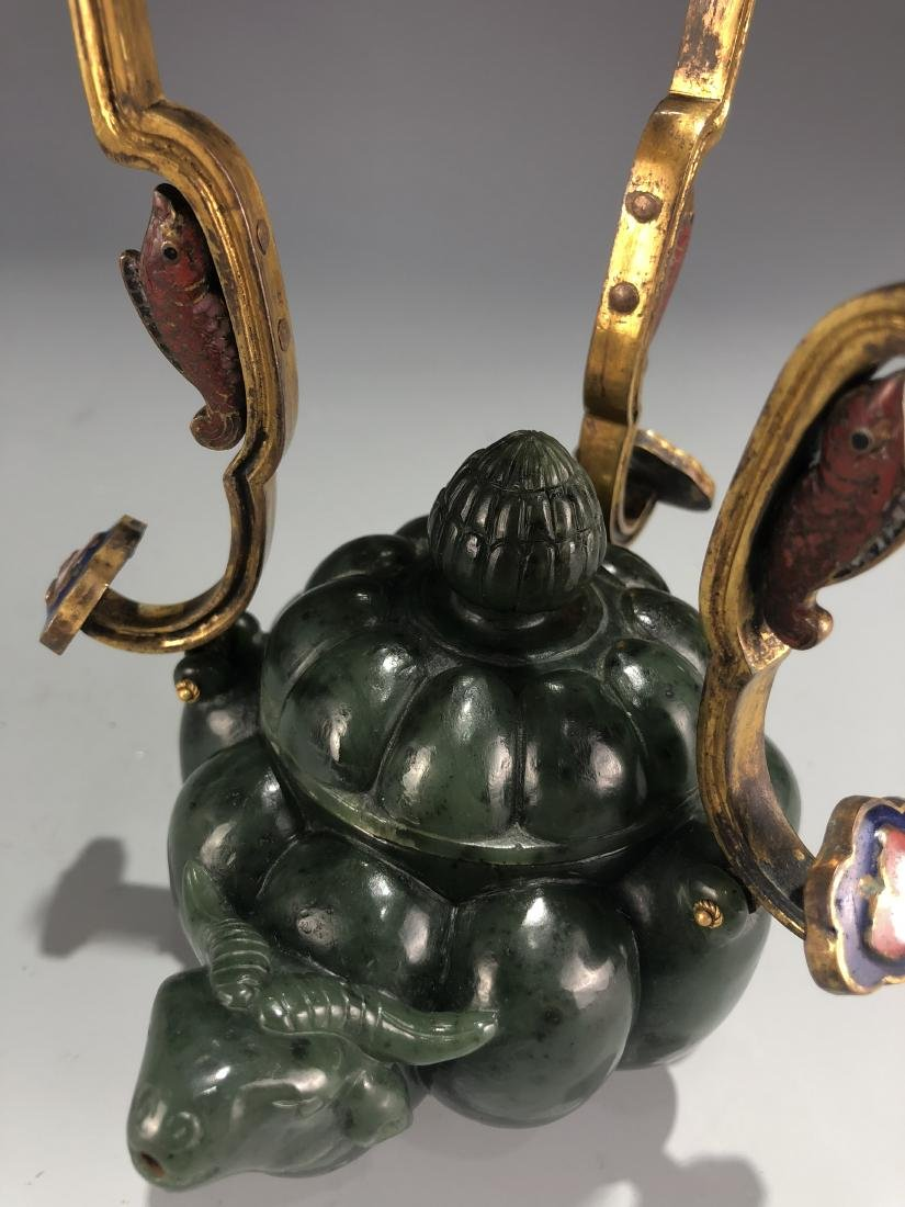 Green Jade Ox Vessel with Cover and Handle - 9