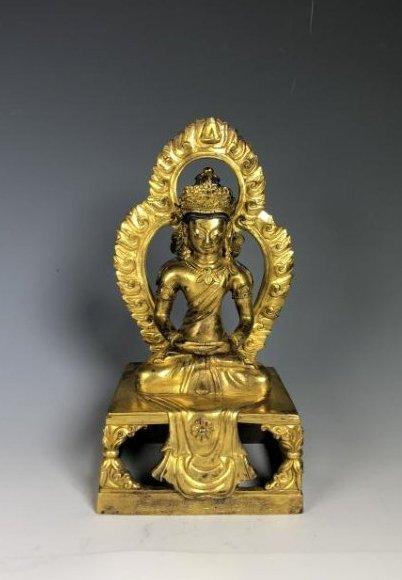 Gilt Bronze Figure of Tara with Halo
