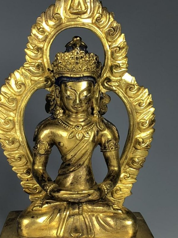 Gilt Bronze Figure of Tara with Halo - 3