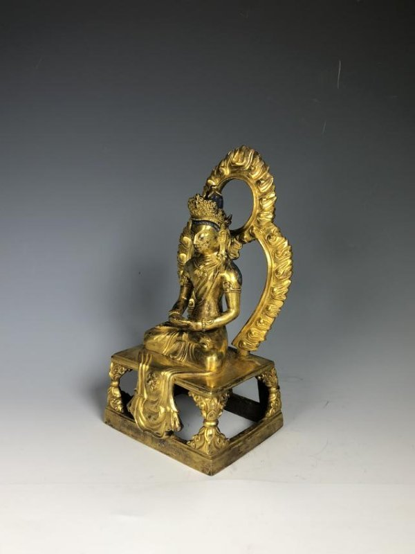 Gilt Bronze Figure of Tara with Halo - 6