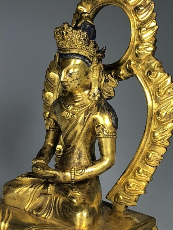 Gilt Bronze Figure of Tara with Halo - 7