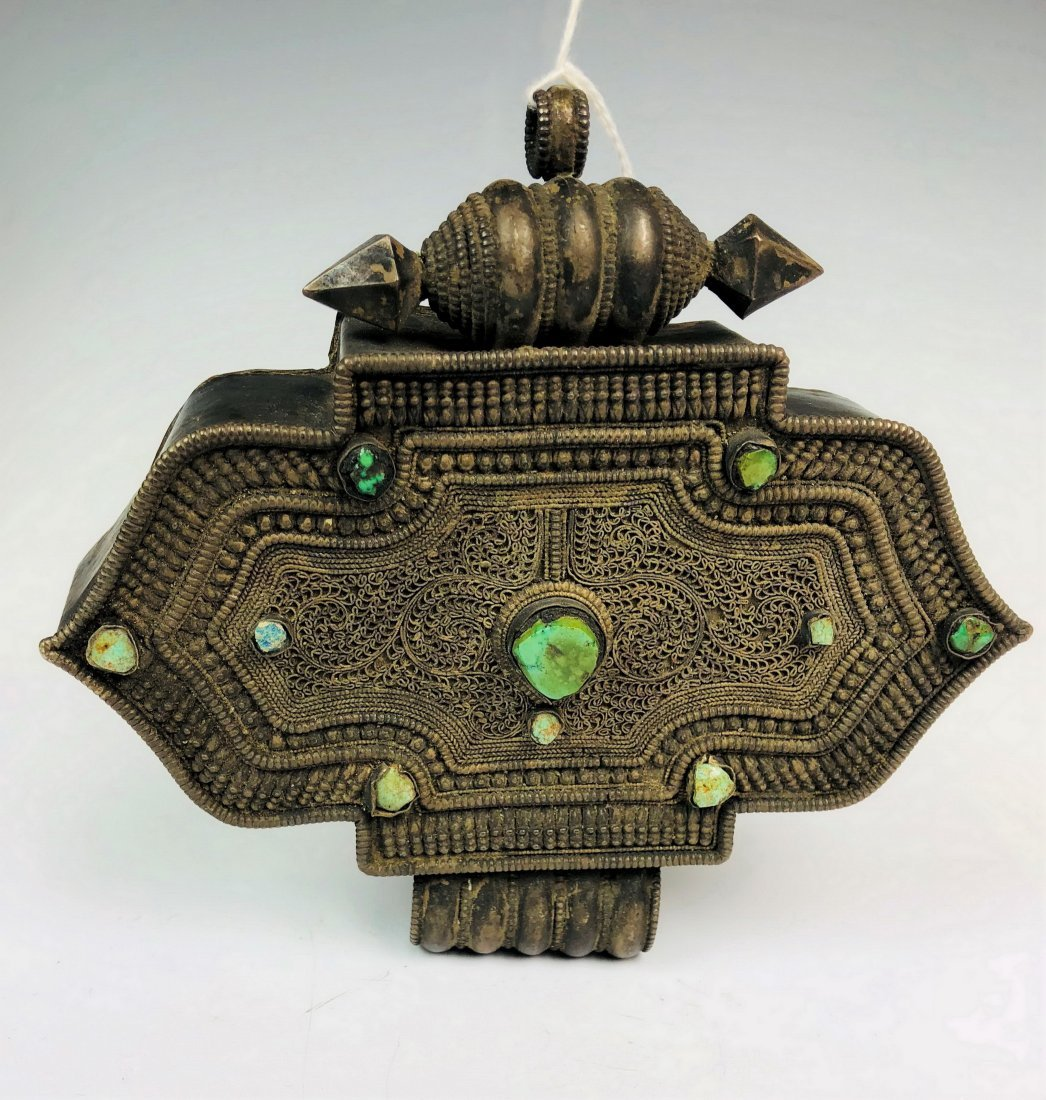 Large Ornate Silver Box with green Stone Inlay