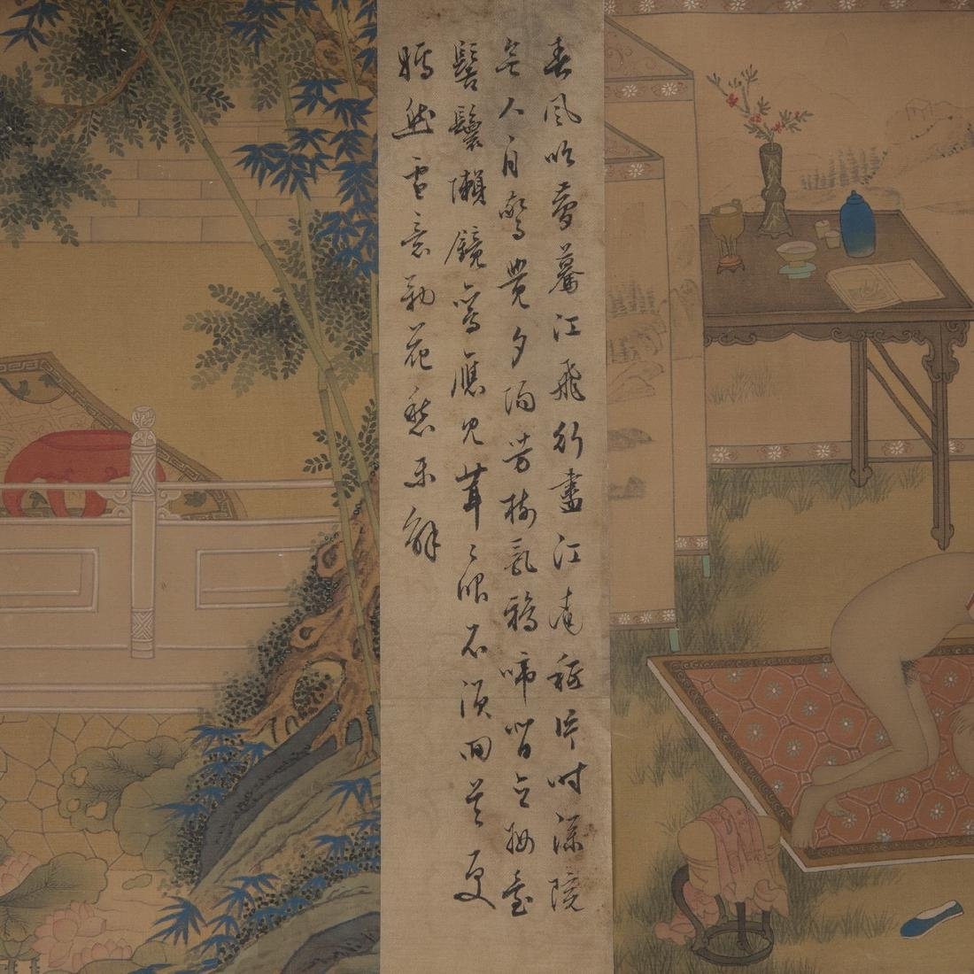 Hand Scroll Painting on Silk Signed By Chou Ying - 4