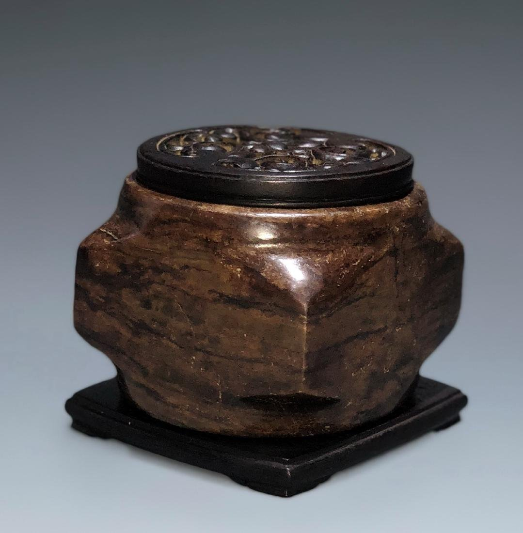 Chinese Archaistic Jade Cong with Wood Stand and Cover