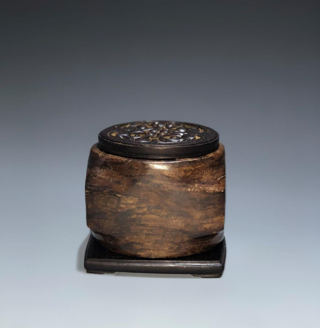 Chinese Archaistic Jade Cong with Wood Stand and Cover - 2