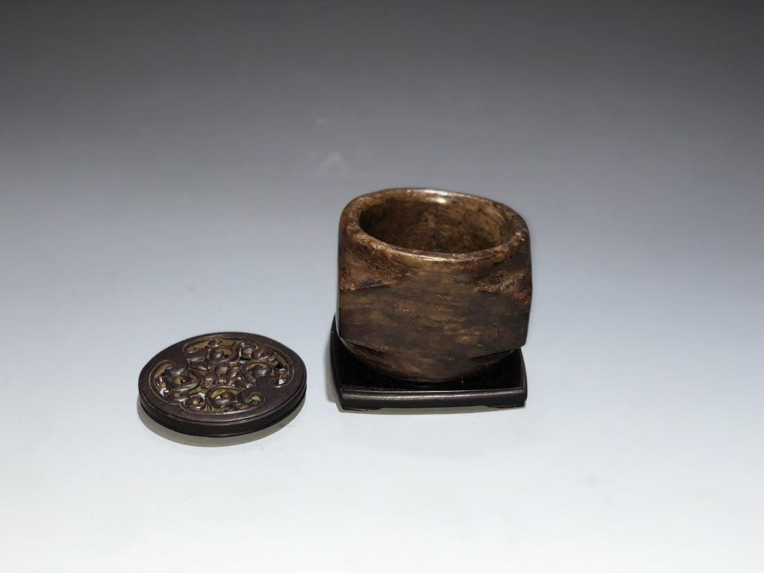 Chinese Archaistic Jade Cong with Wood Stand and Cover - 4
