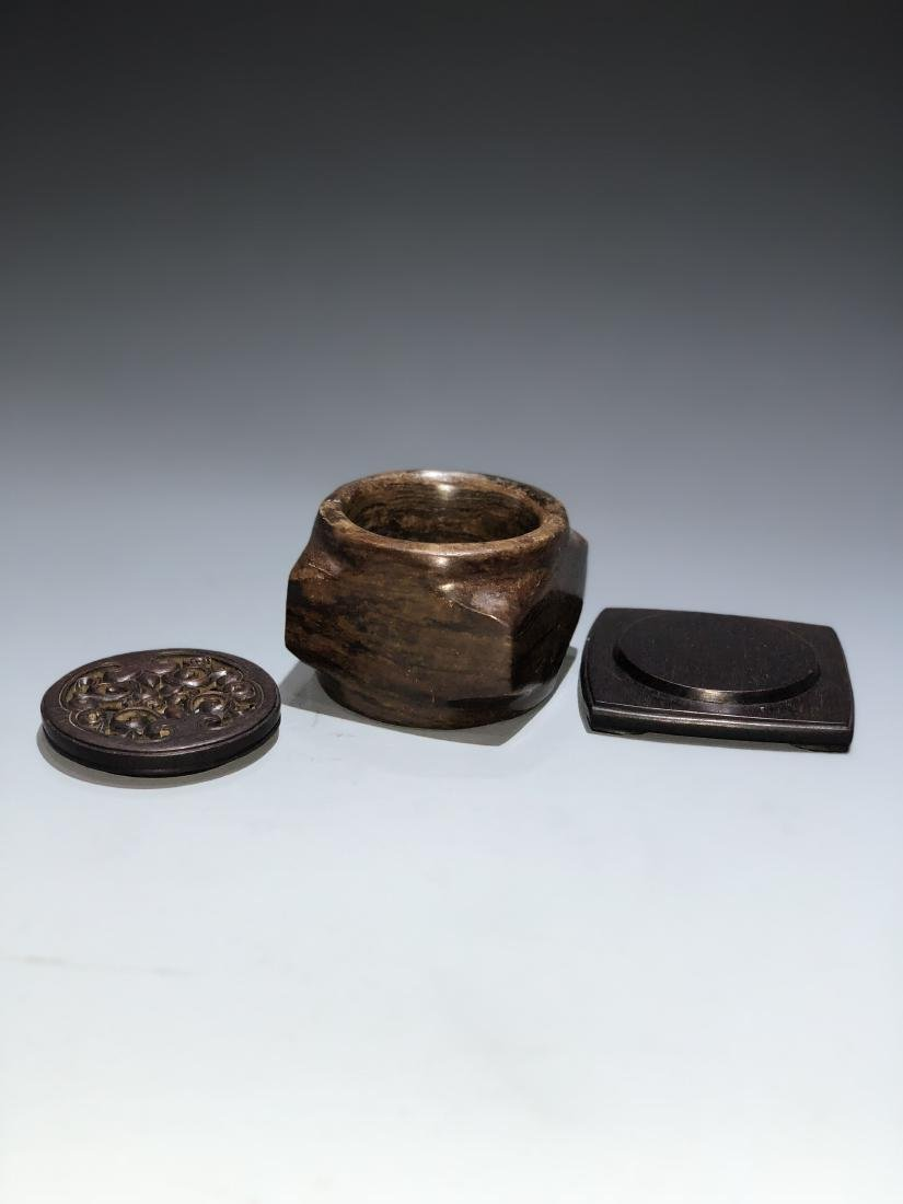 Chinese Archaistic Jade Cong with Wood Stand and Cover - 5