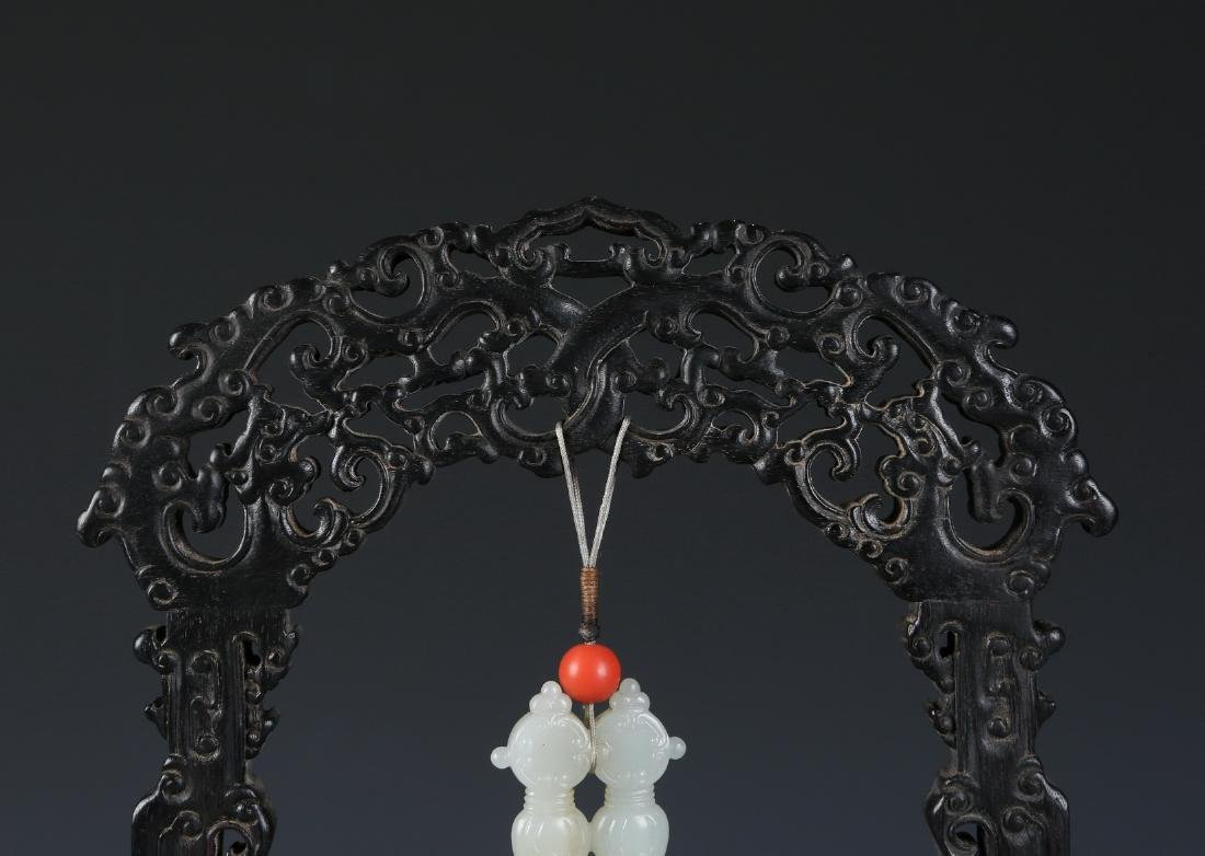 Carved White Jade Pendant in Zitan Wood Hanger - 5