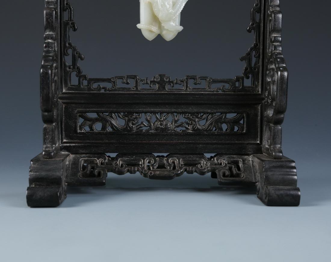 Carved White Jade Pendant in Zitan Wood Hanger - 6