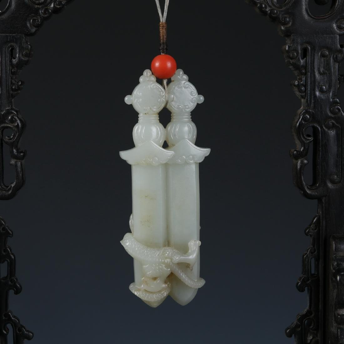 Carved White Jade Pendant in Zitan Wood Hanger - 7