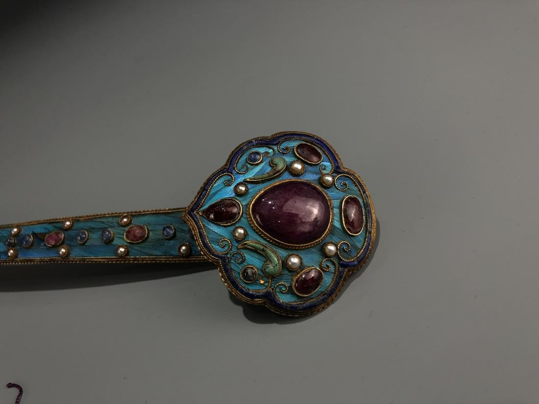 Gilt Silver Kingfisher Feather Ruyi With Ruby And Gems - 3