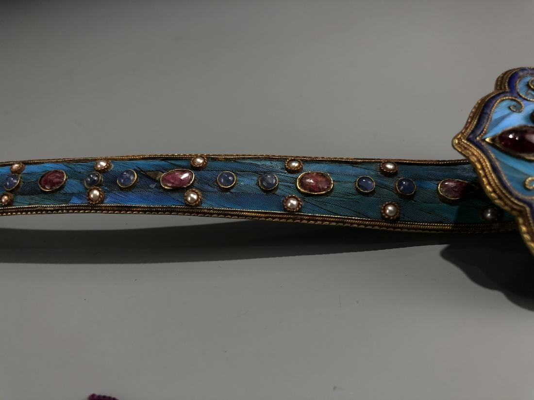 Gilt Silver Kingfisher Feather Ruyi With Ruby And Gems - 4