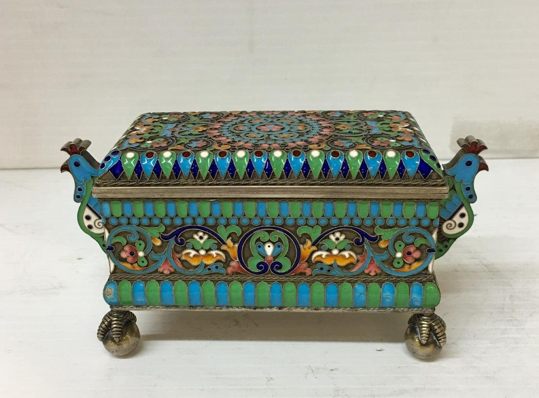 Russian 84 Silver Enamel  Box