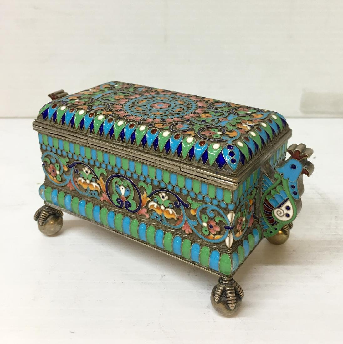 Russian 84 Silver Enamel  Box - 3
