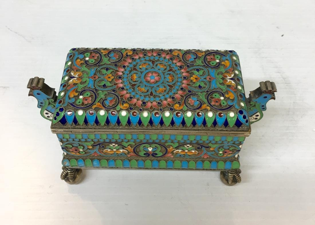 Russian 84 Silver Enamel  Box - 4