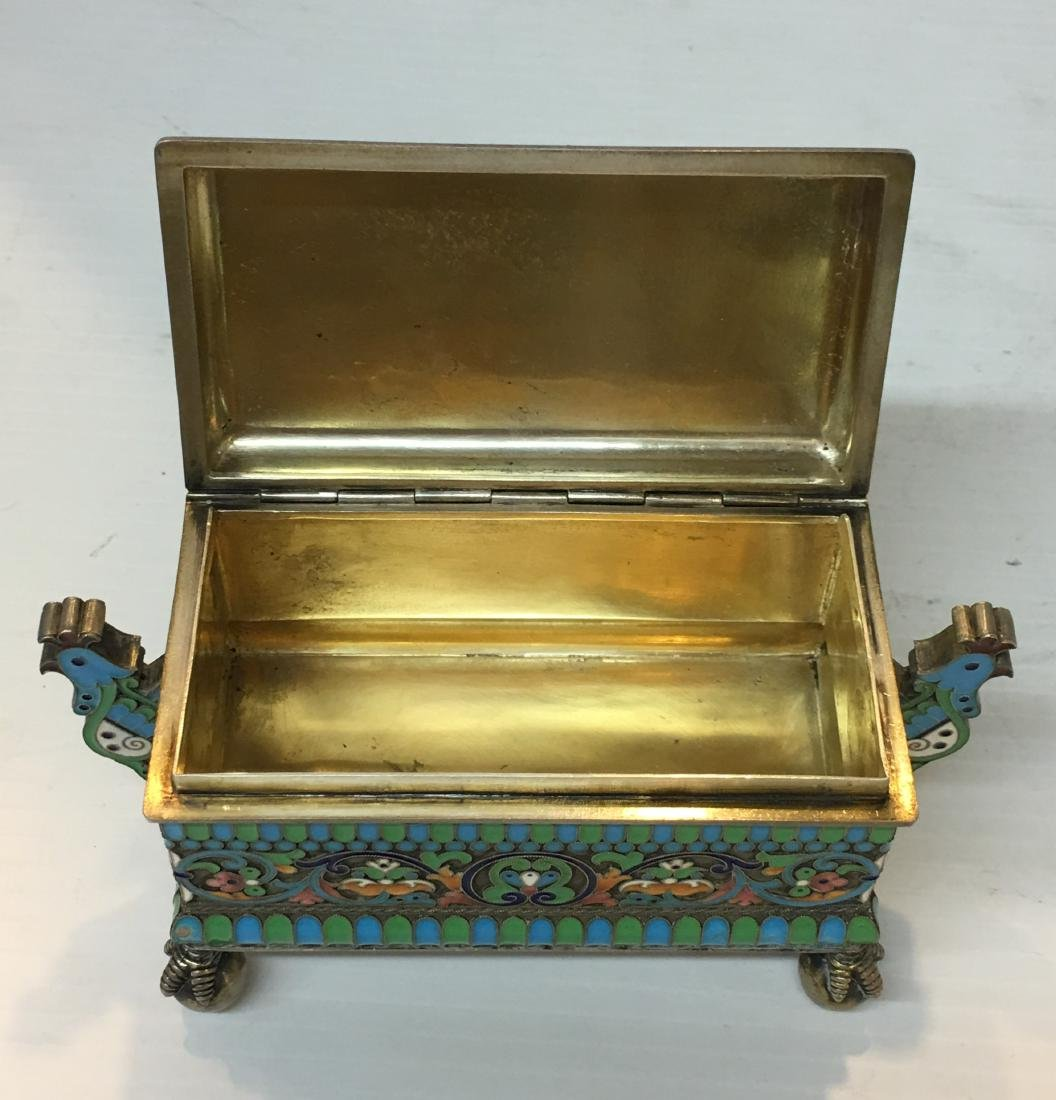 Russian 84 Silver Enamel  Box - 7