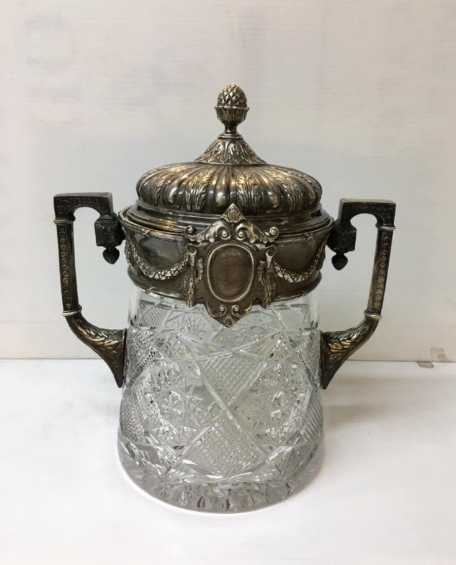 Russian Silver and Glass Jar