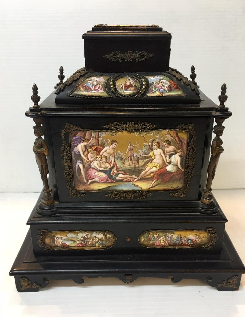 19th C. Exquisite Jewelry Box With Enamel Inlay - 15
