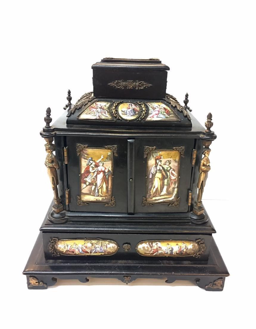 19th C. Exquisite Jewelry Box With Enamel Inlay