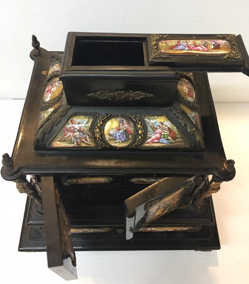 19th C. Exquisite Jewelry Box With Enamel Inlay - 5