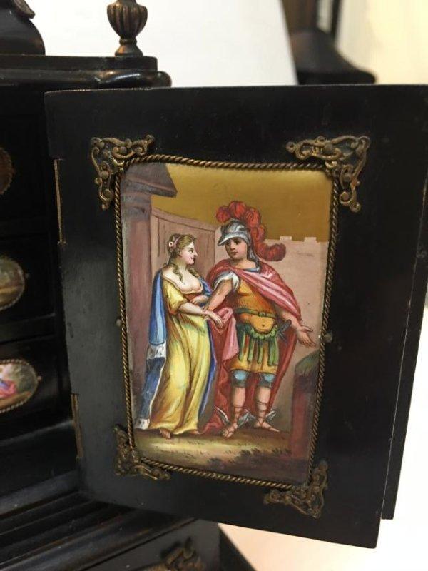 19th C. Exquisite Jewelry Box With Enamel Inlay - 6