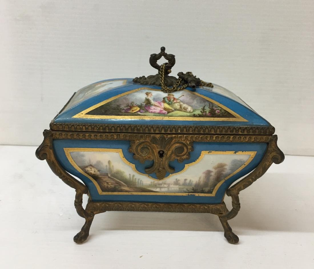 Painted Porcelain and Metal box