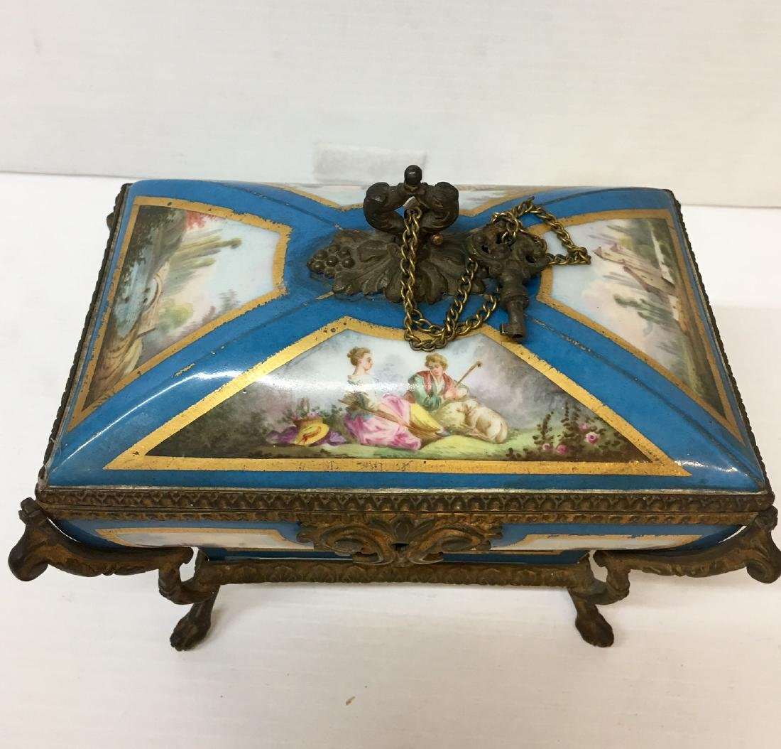 Painted Porcelain and Metal box - 2