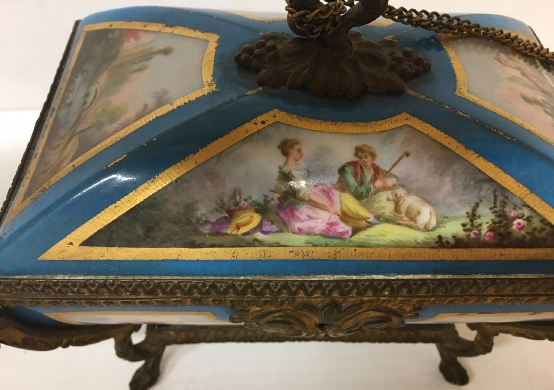 Painted Porcelain and Metal box - 6