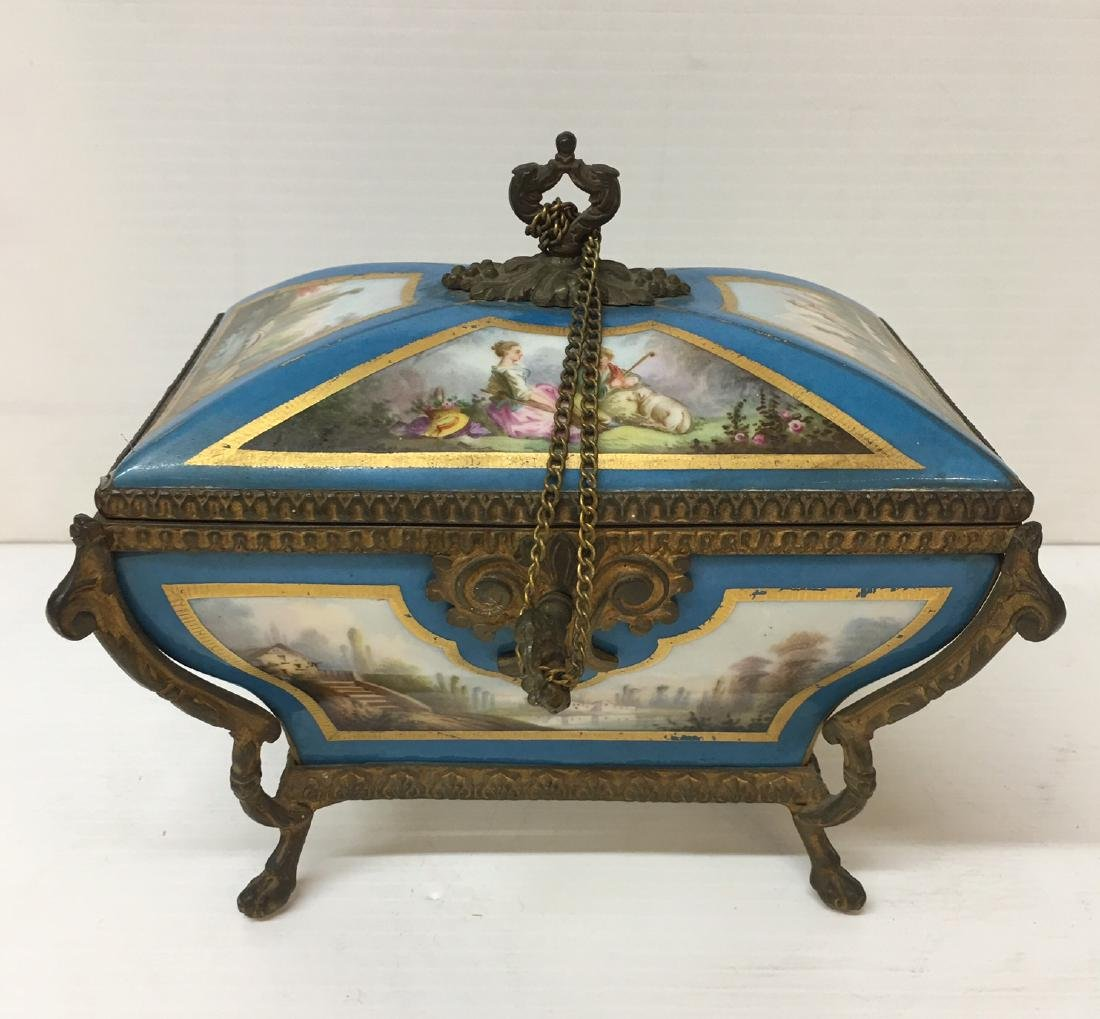 Painted Porcelain and Metal box - 7